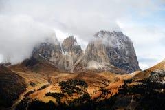 Sassolungo Group in autumn Royalty Free Stock Photos