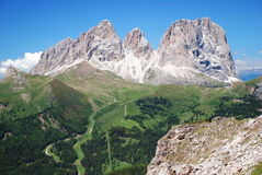 Sassolungo group in Dolomites. Front view of Sassolungo mountain in Dolomites Royalty Free Stock Image