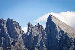 Sassolungo group, Dolomiti, Trentino Alto Adige, Italy. Particular of Sassolungo group,Dente di Mezdi 3081 - Dente 3000 - Sassopiatto 2956 meters, viewfrom Siusi Stock Photography
