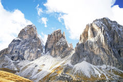 Sassolungo Langkofel Group of the Italian Dolomites Mountains. View from Sella Pass. royalty free stock photo
