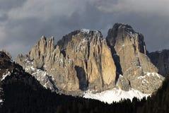 Sassolungo Langkofel Group of the Italian Dolomites in Winter from Campitello di Fassa Ski Area in Canazei. Royalty Free Stock Photo