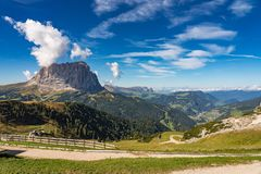 The Sassolungo - Langkofel group, valley Gardena. Dolomites, Italy royalty free stock photo