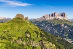 Sassolungo Langkofel grupp - Dolomites, Italien royaltyfri bild