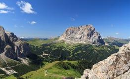 Sassolungo mount and Gardena pass Stock Photography