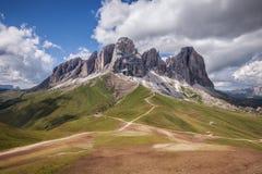 Sassolungo mountain range at sunny day Royalty Free Stock Photos