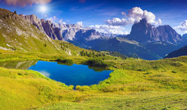 Sassolungo mountain range at sunny summer day. Dolomites mountai Royalty Free Stock Image