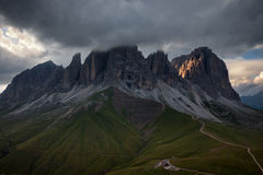 Sassolungo mountain rocky peaks at sunset Stock Image