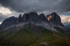 Sassolungo mountain rocky peaks at sunset Stock Image