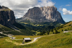 Sassolungo from Passo Gardena Stock Photo