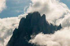 Sassolungo peaks in cloud inversion Stock Image