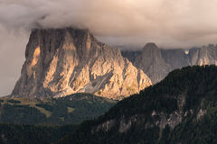 Sassolungo peaks in Dolomites Royalty Free Stock Photography