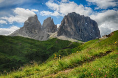 Sassolungo & Sassopiatto Mountain Group as seen from Passo Sella on a cloudy afternoon, Dolomites, Trentino, Alto Adige, Italy Royalty Free Stock Photography