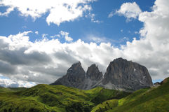 Sassolungo & Sassopiatto mountain ranges as seen from Passo Sella on a cloudy afternoon, Dolomites, Trentino, Alto Adige. Italy royalty free stock photos
