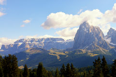 On the Sassolungo and Sella group,valley Gardena. Italy Royalty Free Stock Images