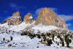 Sassolungo, uma montanha em Val Gardena, Italy Fotografia de Stock