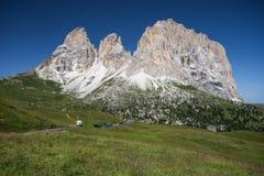 Sassolungo, Val Gardena, dolomia, Italia L'alpe di Sassolungo che controlla i campi variopinti durante la stagione estiva in Val  Fotografia Stock