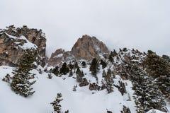 The Sassolungo (Langkofel) Group of the Italian Dolomites in Winter Stock Image