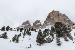 The Sassolungo (Langkofel) Group of the Italian Dolomites in Winter Royalty Free Stock Photo
