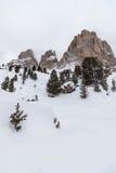The Sassolungo (Langkofel) Group of the Italian Dolomites in Winter Royalty Free Stock Photos
