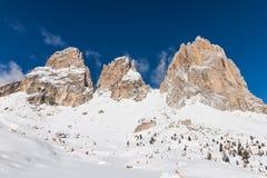 The Sassolungo (Langkofel) Group of the Italian Dolomites in Winter Royalty Free Stock Photo
