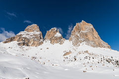 The Sassolungo (Langkofel) Group of the Italian Dolomites in Winter Royalty Free Stock Images