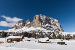 The Sassolungo (Langkofel) Group of the Italian Dolomites in Winter Stock Images