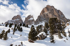 The Sassolungo (Langkofel); Group of the Italian Dolomites in Winter Stock Photo