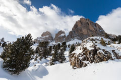 The Sassolungo (Langkofel) Group of the Italian Dolomites in Winter. Stock Images