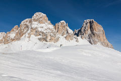 The Sassolungo (Langkofel) Group of the Italian Dolomites in Winter Royalty Free Stock Image