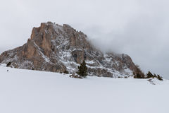 The Sassolungo (Langkofel) Group of the Italian Dolomites in Winter Stock Image