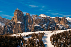 Sassongher, Alta Badia, Italy. A view to Sassongher over Corvara, Dolomites, Italy Royalty Free Stock Image