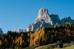 Sassongher avec la forêt d'automne Photographie stock