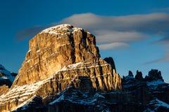 Sassongher Peak on the Ski Resort of Corvara Stock Photo