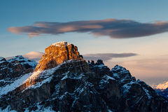 Sassongher Peak on the Ski Resort of Corvara Stock Image
