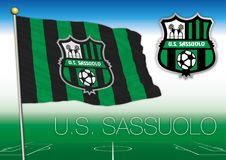 SASSUOLO, ITALY, YEAR 2017 - Serie A football championship, 2017 flag of the Sassuolo team Royalty Free Stock Image