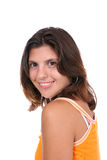 Sassy Brunette in Geel Royalty-vrije Stock Afbeeldingen