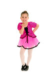 Sassy Child Tap Dancer. A Sassy Girl Tap Dancer in Pink Costume Royalty Free Stock Photography