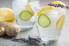 Sassy detox water with lemons, cucumbers and ginger. Healthy breakfast. Body detoxication concept Royalty Free Stock Images