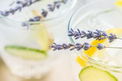 Sassy detox water with lemons, cucumbers and ginger. Healthy breakfast. Body detoxication concept Stock Photos