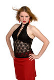 Sassy girl. In red and black lace Royalty Free Stock Photography