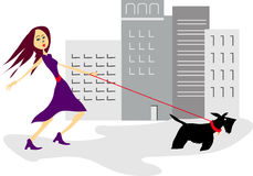 Sassy girl with scotty dog. Scotty wants a walk in the big city stock illustration