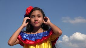 Sassy Girl Wearing Traditional Colombian Dress. Stock video of sassy girl with colombian dress stock footage