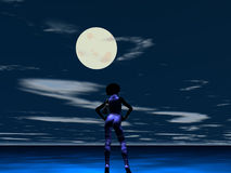 Sassy lady. Back of Pretty Sassy lady with hands on hips, tight clothes and in front of full moon at night Royalty Free Stock Photography