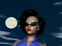 Sassy lady. Pretty Sassy lady with glasses in front of full moon at night Royalty Free Stock Photography