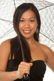 Sassy meisje onder paraplu royalty-vrije stock foto's