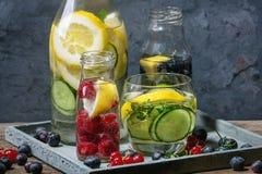 Sassy water van de citrusvruchtenkomkommer royalty-vrije stock afbeelding