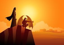 Satã tenta Jesus na região selvagem ilustração royalty free