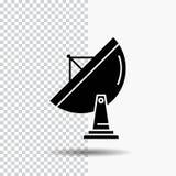 satélite, antena, radar, espaço, ícone do Glyph do prato no fundo transparente ?cone preto ilustração royalty free