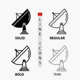 satélite, antena, radar, espacio, icono del plato en línea y estilo finos, regulares, intrépidos del Glyph Ilustraci?n del vector libre illustration