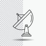 satélite, antena, radar, espacio, línea icono del plato en fondo transparente Ejemplo negro del vector del icono ilustración del vector
